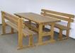 Masa si bancute cu spatar din lemn masiv