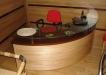 Birou curb din lemn masiv cu sticla