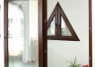 Usa culisanta cu rama din lemn triplu stratificat cu geam termopan - esenta molid