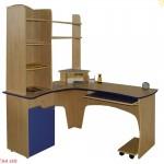 Birou de colt cu tastatura si minibiblioteca