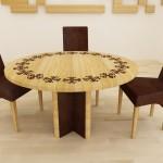 masa sufragerie din lemn cu intarsie de lemn